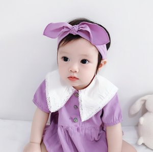 2020 Summer Baby Clothes Triangle Bag Fart Jumpsuit Newborn Baby Short-Sleeved Romper Childrens Romper Hair Band