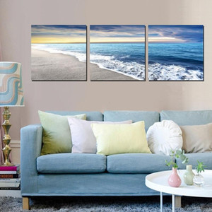 Tela Home Decor Wall Art Immagini per soggiorno Stampe HD Poster Poster 3 pezzi Beach Sandy Sea Wave Wave Paintings Paintings Framework