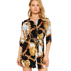 Ropa para Mujer Moda Patrón de la cadena de impresión blusas de las mujeres del color de contraste camisa camisas vestidos Fajas Lady 2020 Nueva mayorista