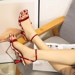 square open toe narrow band japanned leather gladiator sandals women summer brand red lips strange heel sandals polka dot buckle