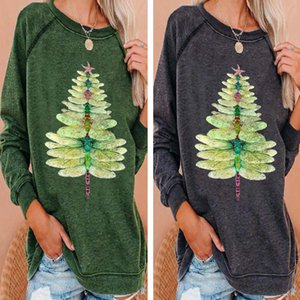 Long Sleeve Christmas Women's Tree Round Neck Loose T-shirt
