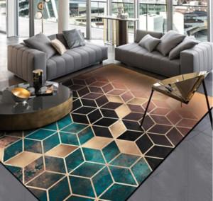 Fashion Nordic Gradual Shading Green Golden Diamonds Print Door Kitchen Mat Living Room Bedroom Parlor Area Rug Decor Carpet