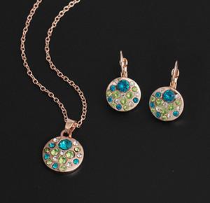 Cristal joyas Conjunto redondo del estilo de los sistemas del colgante aderezo bijoux femme compromiso de la boda de la joyería del partido