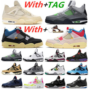 2021 New Sail Black Cat Bred 4 4s Guava Ice Mens Basketball Shoes What the White Cement Deep Ocean Mens Trainers Sports Sneakers
