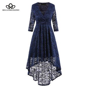Bella Philosophy Dress Women Lace Three Quarter Sleeve Patchwork Party Dress Female Vintage V-Neck Sashes Floral Fishtail