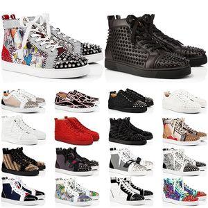 2021 Kırmızı Dipleri Tasarımcı Erkek Kadın Ayakkabı Spike Yüksek Üst Sneakers Siyah Beyaz Glitter Gri Deri Süet Erkek Bayan Rahat Ayakkabı Boyutu 35-47