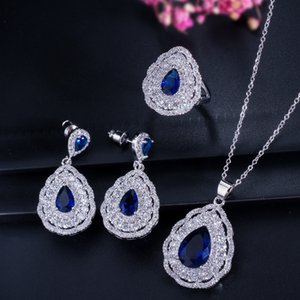 Fashion Elegant Colorful Crystal Diamond Ring Necklace Earrings For Lady Jewelry Sets Designer Water Drop Indian Jewelry