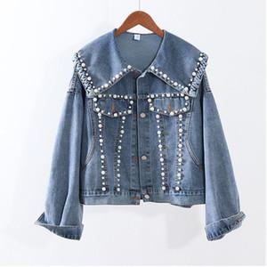 Autumn Jean Chaqueta para las mujeres Casual Blue Denim Jacket Pearls Abrigos de abalorios Femenino Outerwear Cuello de Navidad Cuello de mezclilla Femenina