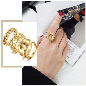 Кластерные кольца Chic Женские 5/7 / 14 мм широкие свадебные полосы Cuban Link Chain Gold Color Gifts для ее минималистских ювелирных изделий