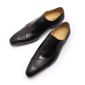 Italian Oxford Shoes Men Formal Dress New Black Suede Mix-Color Lace Up Pointed Toe Leather Shoes Men