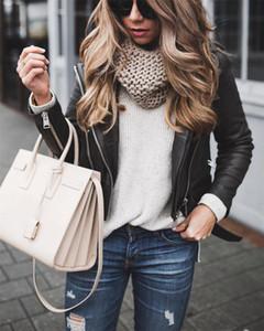 Plus Size S-4XL Women PU Leather Jackets Motor Biker Loose Warm Zipper Coats Fashion Ladies Long Sleeve Lapel Jacket Black Tops