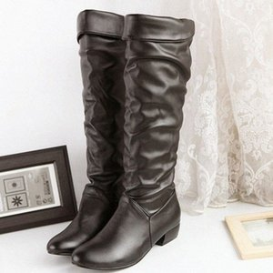 Vogue Nice Big Size Fashion Knee High Women Boots Winter Pointed Toe Female Long Boots Pu Leather Rubber High Heels HUyz#