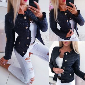 Monclair Winter Mujeres Warm Button-Down Chaqueta de algodón Abrigos Mujeres Chaquetas Casuales Femeninas Pockets Ruffle Slim Fit Jackets Corta Goo