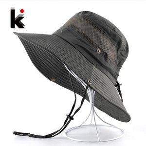 Masculinas Verão Bucket chapéu aba larga Sun Caps praia Mulheres Anti-UV viseira Hats For Men Outdoor Pesca Escalada Bob Chapeau Bones
