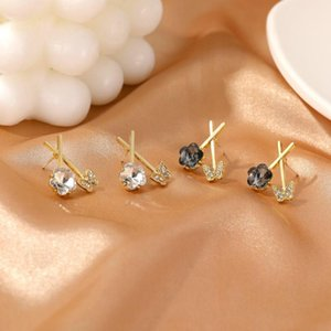 New Wholesale Korean Fashion Cross Floral Rhinestone Butterfly Stud Earrings Luxury Women Gift