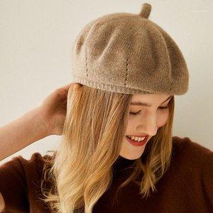 Beliarst 100% pure cachemire chapeau femme béret chapeau de citrouille épaisse en laine tricotée élégante dames1