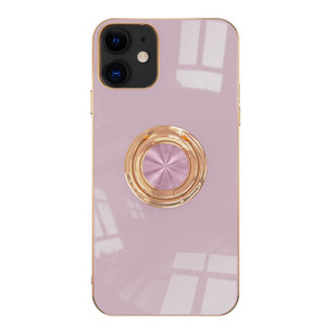 Adequado para a Apple 12, gama completa de all-inclusive straight-borda electroplating stand case celular iPhone12Pro anel tpu shell macio