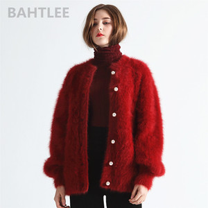 BAHTLEE Winter Women's Angora Cardigans Sweater Wool Knitted Mink Cashmere O-Neck Pearl Button Pocket Thick Keep Warm 201022