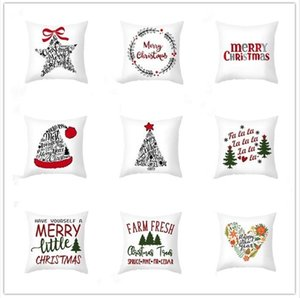 45*45cm Christmas Snowflake Pillowcase New Year Decor Santa Cushion Covers Home Sofa Pillow Case Xmas Pillow Cover Party Supplies WY886w