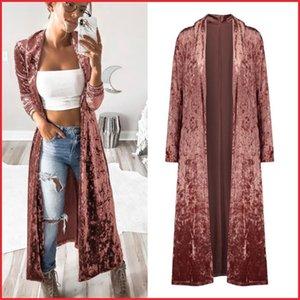 Semfri largo Cardigan otoño invierno mujeres sueltan abierto puntada capa de la manera sólida Streetwear estilo coreano chaqueta Y201012