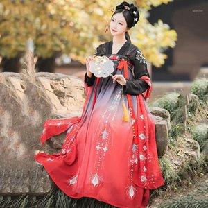 Escenario desgaste bordado hanfu mujeres cantantes trajes de baile tradicional hadas vestido folk festival outfit rave rendimiento ropa DC37641