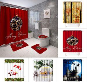 Curtain Bathroom Toilet Shower Sets Scenery Non Christmas Seat Printed Curtain Mat Slip Cover 4-piece Bathroom Shower Carpet Floor Ma jllgz
