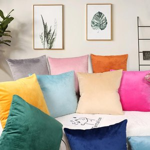 Sofa Decorative Cushion Cover Solid Color Hugging PillowCase Square Velvet Cushion Cover Flannel PillowCase Outside Pillow