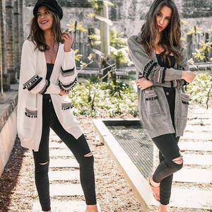 Mulheres Boho Manga Longa Aberta Frente Knit Cardigan com Bolsos 2018 DHL Moda feminina cape Bohemian Camisola De Malha Outwear Casaco Tops