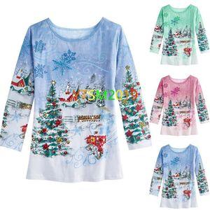 Christmas fashion print long sleeve sweatshirt Round neck shirt bloluses Women casual coat for Autumn wear
