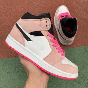 Jumpm 1 Crimson Töne mit purpurroten Tönung Hyper Pink Black Schoenen Größe 36-40 Mode Turnschuhe Frauen Chaussures Gießen Hightop