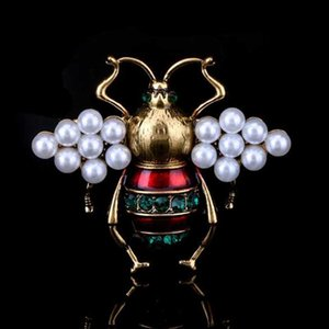 Wholesale Retro Fashion Blue Red Enamel Bee Brooch Pins Crystal Pearl Brooches Women Men Children Suit Lapel Pins Accessories Jewelry