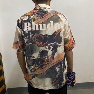 2021 NUEVO Kiryaquy Men Tie Thie Dye Bounty Hunter Rhudo West Cowboy Moda Casual Camisas Casual Camisa de alta calidad Pocket D29 PS1W