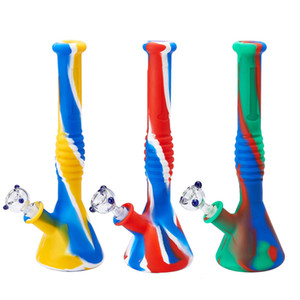 Silicone Bongs Percolators Perc Removable Straight Water Pipes bong Smoking Bong With Glass Bowl Mini Bongs With Quartz Banger