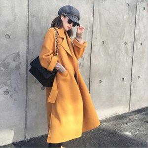 Snordic donne inverno lungo giallo Cappotto Jacket Turn-down Collar Spalato Hem cappotto di lana con Waistbelt elegante Cardigan