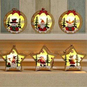 Natal ornamento de madeira Pentagram de madeira luminosa Santa Snowman Deer Pingente De Natal Decoração De Madeira CYZ2831 60PCS