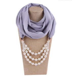 2020 New Design Pearls Pendant Necklace Scarf For Women Chiffon Scarves Pendant Jewelry Wrap Foulard Female Accessories
