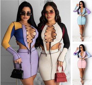 Frauen Zwei Stück Kleid Set Frühlingskleidung Neue Mesh Up Cut Out Farbe Kontrast T-shirt Hohlheft Top Kurze Rock