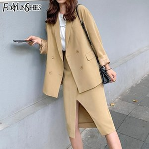 FORYUNSHES Women 2 Piece Set 2020 Autumn Chic Feminino Splitted Solid Loose Casual Blazer + Skirt Suit Office Lady Business Wear