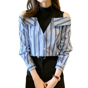 Sexy Strapless Shirt Long Sleeve Women's Blouse 2021 Spring Autumn Fashion Trend Shirt Casual Girl Blouse
