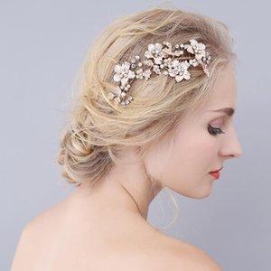 Slbridal Golden Flower Feuille Strass Perles Peigneur De Mariage Cheveux De Mariage Heppe-Heapes Cristal Cheveux Accessoires De demoiselles d'honneur