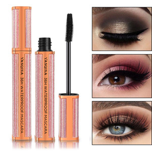 YANQINA Starry Sky Waterproof Mascara Curling Mascara Lengthening Wide Angle Silicone Brush Head Makeup Black Mascara