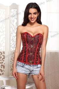 Classical Steel Boned Steampunk Corset Outwear Top Cord Lacing Up Bustier Plus Size S-5XL1