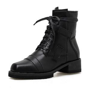 Stivali 2021 Autunno Primo Inverno Scarpe Donne Fashion Elegante Signore Mezzo Tacchi medio Caviglia Black Cool Style A2856