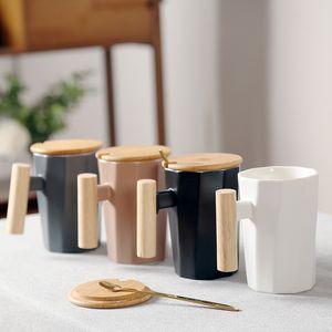 Genuine ins Nordic Style Simple Creative Literary Wood Handle Ceramic Mark Coffee Cup