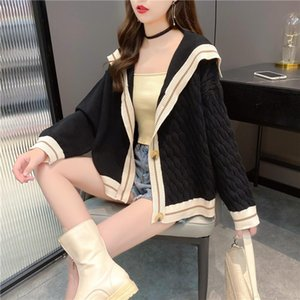 2020 fashion girl knit sweater coats are all interlocking black purple gray style cardigan buttons V-neck long-sleeved knitwear fashion desi