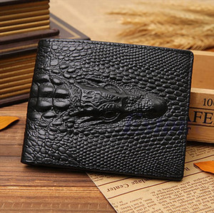 THINKTHENDO Fake Crocodile Gator Mens Leather Wallet Pockets ID Credit Card Clutch Bifold Drop Shipping Good Quality