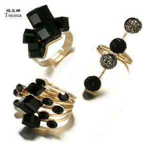 Tocona Vintage Antique Gold Black Rhinestone Opening Knuckle Finger Midi Rings Set for Women Punk Statement Jewelry