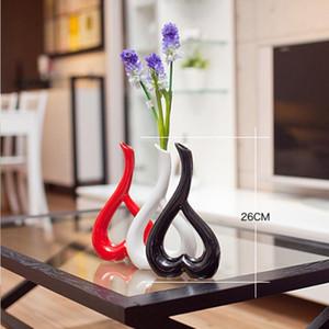 Creative Heart Shape Handcrafts Home Decoration Art Work Flower Holder Ceramic Vase or 1 Plus 1 Real Touch Rose Set J