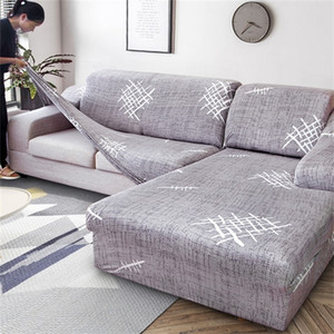 2 PCS Elastic Covers for Sofa Living Room L shaped Sofa Cover Case Chaise Longue Couch Slipcover Corner Sofa Cover Stretch 201222