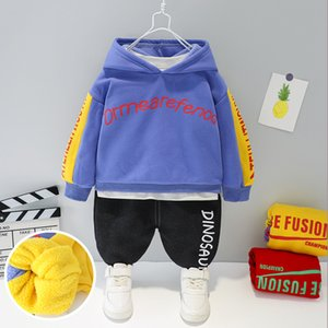 Children Autumn Winter Thicken Warm Clothing Set Baby Letter Pattern Hoodies+Pants Suits Boys Girls Outerwear Clothes Sets X0923